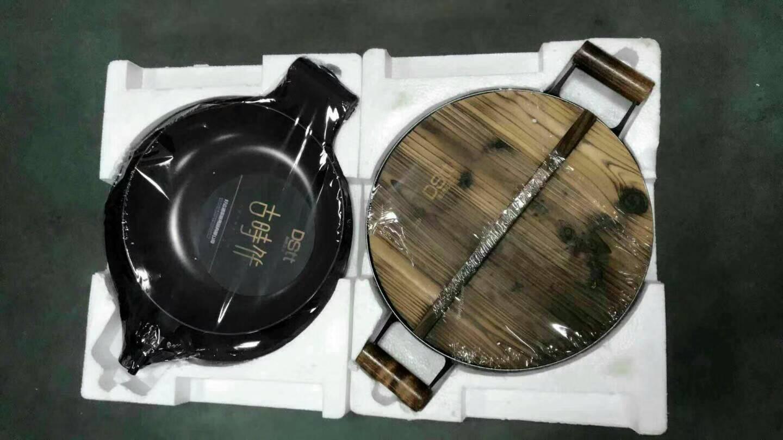 De hierro fundido cocina utensilios de cocina negro Color 3 piezas conjunto sartén Wok y olla de sopa con cubierta de madera herramienta de cocina conjuntos - 3