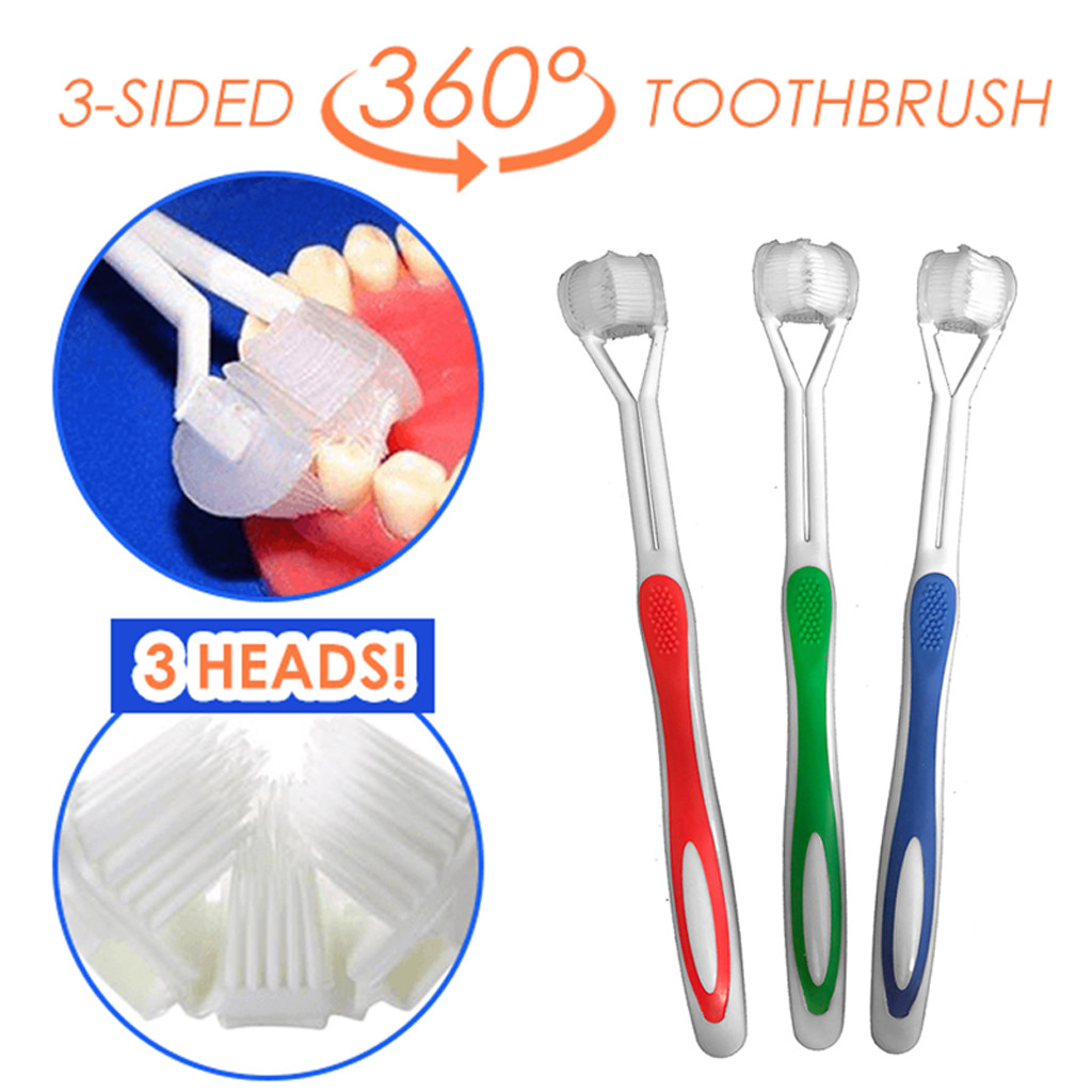 Special Needs 3 Sided Toothbrush 360 Surround Cleaning Toothbrush Complete Coverage Replaceable Interdental brushs Adult image
