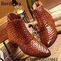 Botas Хомбре 2017 Мода Британский Стиль Мужская Обувь Ткани Кожи Дышащий Лодыжки Сапоги Отметил Сапоги Вскользь Платья Oxfords Сапоги
