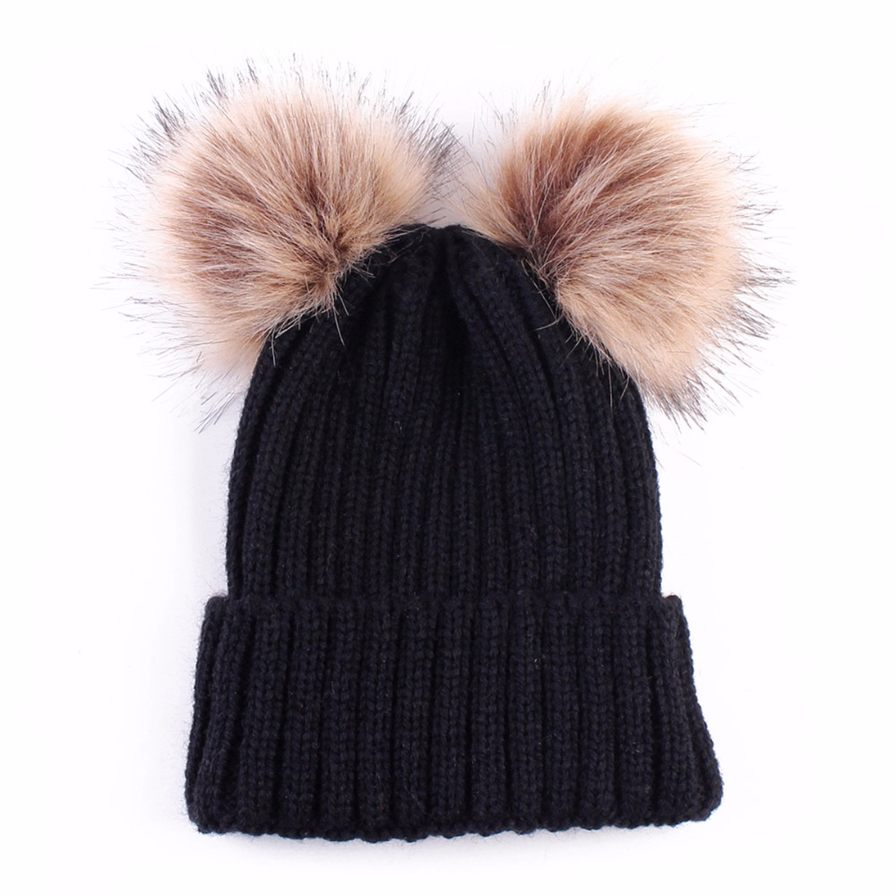 2018 Double fur ball cap pom poms winter warm hat for women girl hat  knitted beanies cap Crochet Hat brand new thick female cap-in Skullies    Beanies from ... 0d6ea23532f