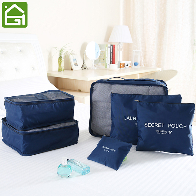 6PCS/SET Travel Sorting Bags Waterproof Clothes Underwear Organizer  Portable Suitcase Closet Divider Container
