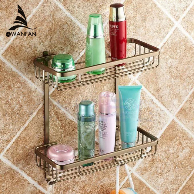 Bathroom Shelves 2 Layer Rack Metal Antique Towel Hook Washing