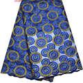 Африканский Французский Кружева Горячий Продавать 2017 Новое Прибытие Королевский синий Свадебные Тюль Кружевной ткани для Больших случаю платья F4-178
