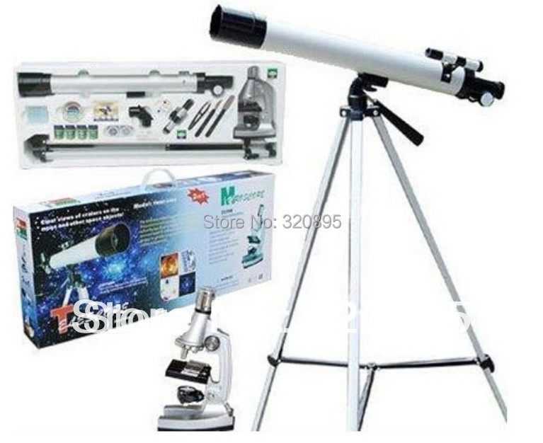 Great Birthday Christmas New Year Gift 100x 400x 1200x Student Children Toy Microscope with Astronomical Telescope for Kids kid s gift entry level astronomical telescope with tripod for children