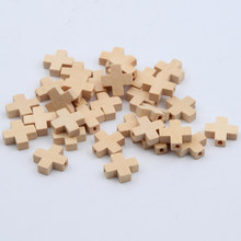 50pcs Natural Wood Beads Cross Jewelry For Baby DIY Kids Toys Makeing Bracelet Necklace Spacer Beading Wooden Beads(China)