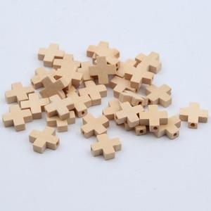 50pcs Natural Wood Beads Cross