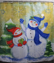 2016 High Quality Merry Christmas Fabric Waterproof Bathroom Shower Curtain Snowman Decor With Hooks Bath Curtains