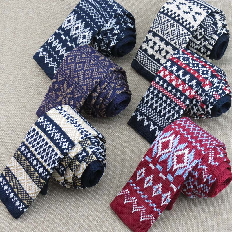 (1 pieces/lot)Knitted tie/geometric snowflake design/all sorts of color optional/new pattern man retro fashion knit tie