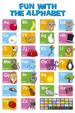 Kids Learn the Alphabet, Educational Letter Fun Poster Decorative ...