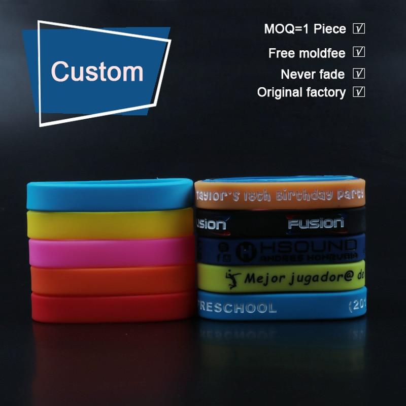 1 Piece Kids Silicone Custom Bracelets Personalized Wristbands Customized Name Wristands Bileklik Pulseira