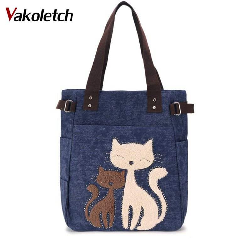 Lovely Cute Cat Canvas Handbag For Girls Ladies Large Capacity Casual Bag Women Portable Solid Zipper Shoulder Bag Bolsos KL579