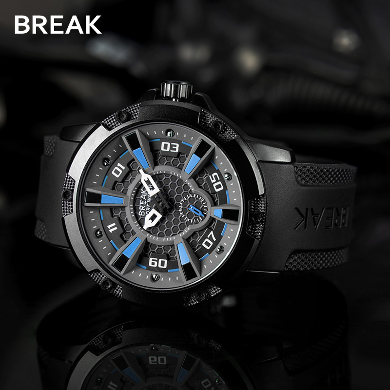 Break Waterproof Top Luxury Brand Mens Watches Military Sport Watch Man Rubber Clock Men Quartz Wrist Watch Relogio Masculino xinge top brand luxury leather strap military watches male sport clock business 2017 quartz men fashion wrist watches xg1080