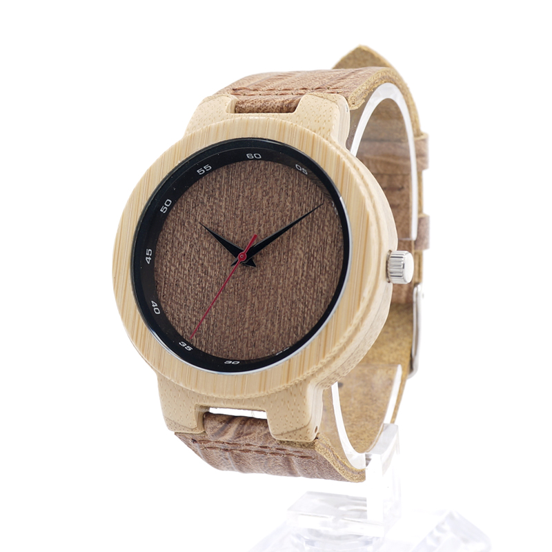 ФОТО BOBO BIRD D16 Brand Designer Bamboo Wood Japan Quartz Watches for Men With Leather Straps in Gift Box