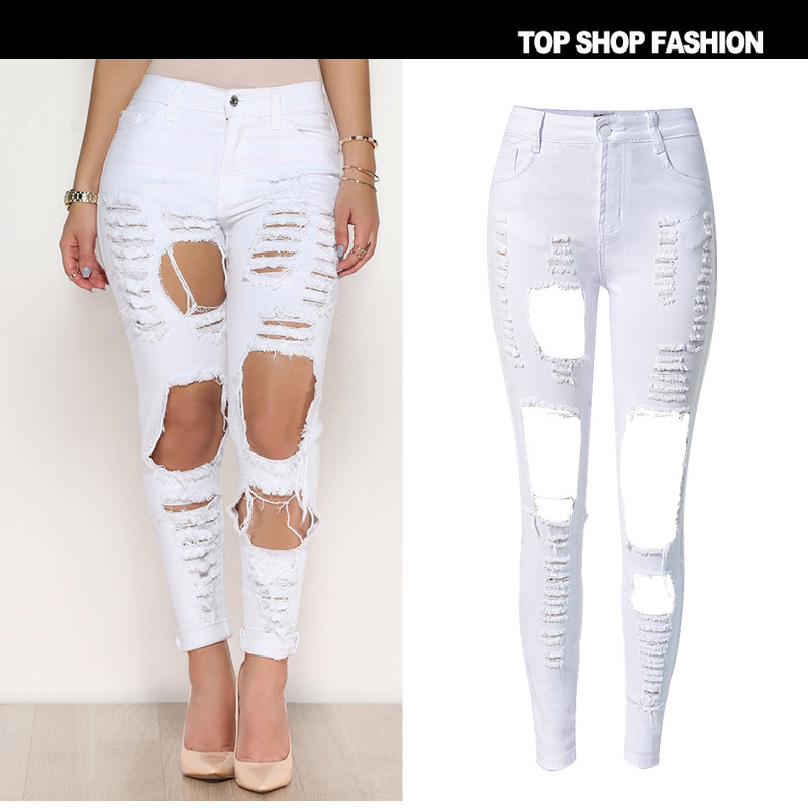 Liva Girl Hole High Waist White Skinny Women Jeans Robek Scratched Stretch Ripped Jeans Femme Push Up Vintage Denim Mujer high waist jeans women soft hole ripped skinny slim stretch denim jeans for girl push up jeans ankle length camisa feminina