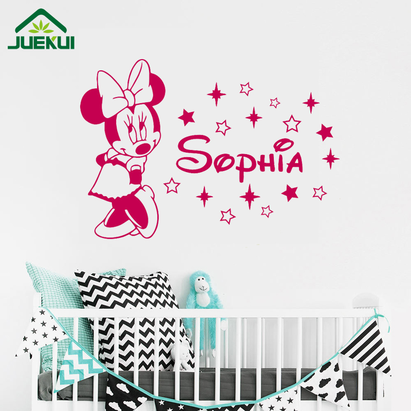 Minnie Mouse Wall Decal Girl Custom Any Name Cartoon Vinyl Sticker Cute  Poster Nursery Baby Kids Room Art Decor Mural J20 In Wall Stickers From  Home ...