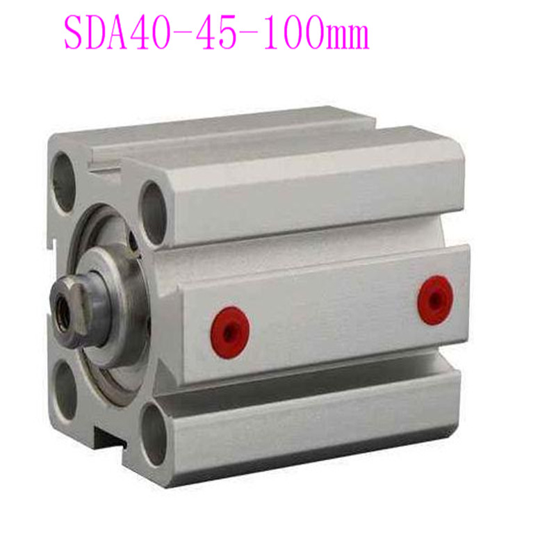 SDA40 Cylinder Compact SDA Series Bore 40mm Stroke 40 100mm Compact Air Cylinders Dual Action Air Pneumatic Cylinders in Valves Parts from Automobiles Motorcycles