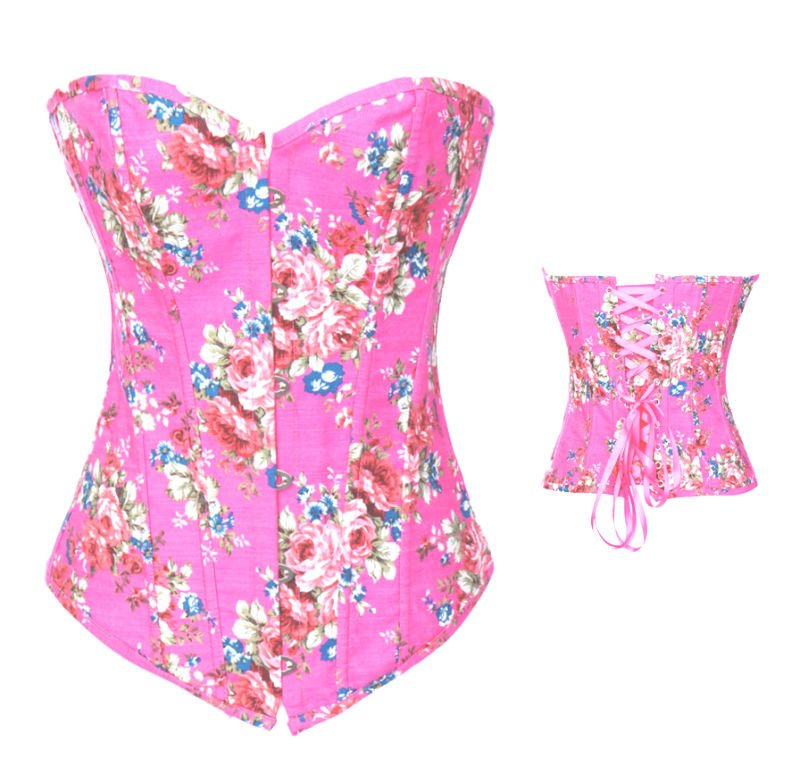 4e3cbad956f Sexy Lingerie Floral Fantasy Burlesque Denim Corset Pink 8910-in Bustiers    Corsets from Underwear   Sleepwears on Aliexpress.com