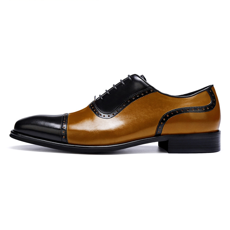 Hombres And Boda Para Oxfords Vestir Lace Zapatos Up Orange Black Toe Cap De Grimentin Los Cuero Genuino OqwSxnU1p