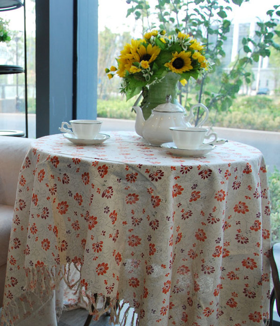 Rustic Tassel Fabric Table Cloth Dining Table Cloth Cheap Round Tablecloths  Cotton Table Cover Country Style