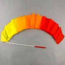 300 ซม.ผ้าไหมStreamer Rainbowจังหวะยิมนาสติกริบบิ้นสรรเสริญเต้นรำStreamersเด็ก (ไฟเบอร์กลาสRodรวม) จัดส่งฟรี