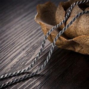 Image 4 - V.YA Retro lina kręcona łańcuszkowy naszyjnik dla mężczyzn kobiety 925 srebro naszyjnik mężczyzna czarny tajski biżuteria srebrna