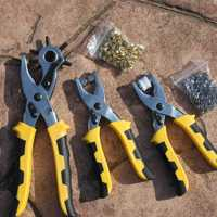 3pcs Set Grommet Rivets Eyelet Setting Pliers Shoes Leather Leather Hole Punch Belt Snap Button Setter