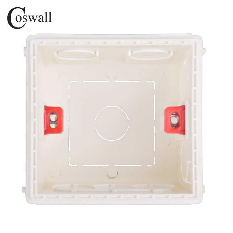 Boîtier de montage réglable Coswall Cassette interne 86mm * 85mm * 50mm pour interrupteur de Type 86 et prise boîtier arrière de câblage blanc rouge bleu
