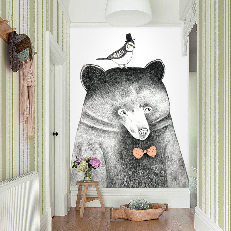 Tuya Art Animal Mural Wallpaper panda lion bear and dog on the wall for children's wallpaper nursery room bedding home decor pure green mountain art wallpaper mural on the wall for kid s room wallpaper nursery room wall decor free shipping