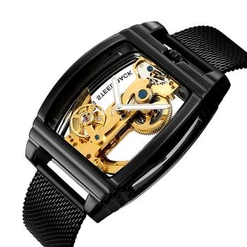 цена Automatic Mechanical Watch Men Fashion Transparent Watch Mens Leather Strap Top Brand Steampunk Self Winding Watch montre homme онлайн в 2017 году