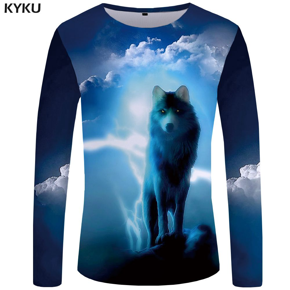 KYKU Wolf T shirt Men Long sleeve shirt Love Streetwear Snow Graphic Mountain Clothes Jungle 3d T-shirt Hip hop Mens Clothing 5