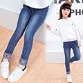 2017 Spring and Autumn Hot Fashion Classic Children's Cotton Jeans Girl Smoothing Trousers Embroidered Poker Slim Pants