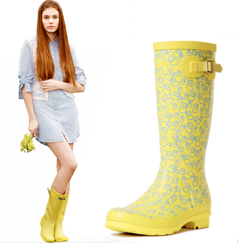 2016 New Women's Tall Rain Boots, Girl's Fashion Water Shoes Rubber Waterproof Ladies Walking Outdoor Hunting Rainboots 36-39 women tall rain boots ladies low hoof heels waterproof graffiti buckle high nubuck round toe rainboots 2016 new fashion design