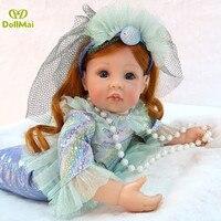 Little Mermaid Doll Kid Girls Toy gift 2458cm vinyl silicone reborn baby doll princess Mermaid Exclusive model bebes reborn