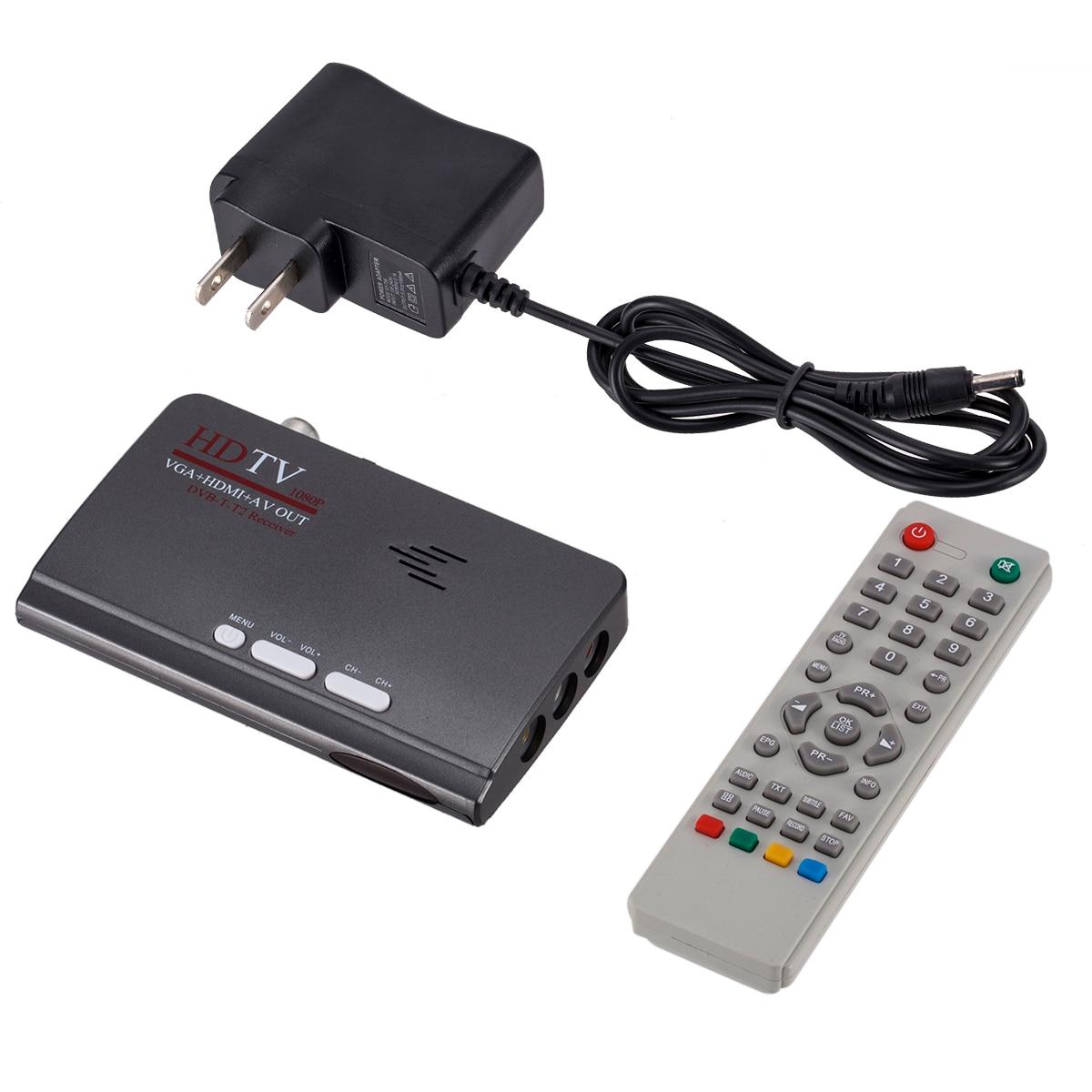 DVB-T/DVB-T2 Sintonizador de TV Receptor DVB T/T2 Caixa De TV VGA CVBS AV digital HDMI 1080 P HD receptor de satélite Com Controle Remoto