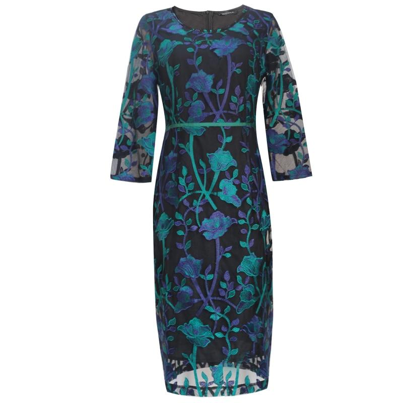 TAOYIZHUAI 2019 New Arrival Spring Vintage Dress Three Quarter Knee Length Plus Size Pattern Embroidery Women Lace Dress 16133 Women Women's Abaya Women's Clothings