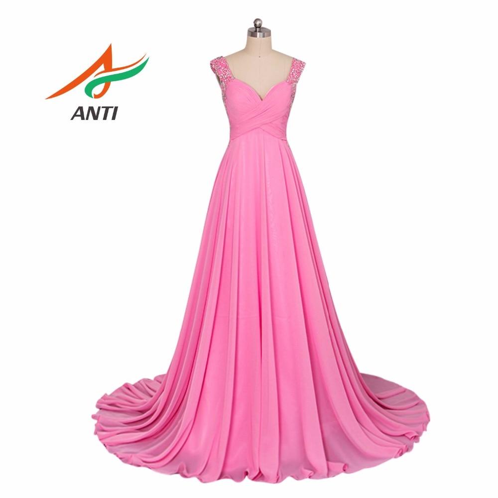 ANTI 2018 Veshja e gjatë formale e mbrëmjes V-Qafa Elegant Fustani i Perandorisë Vestido De Festa Longo Dresses Wedding Ngjyra e vërtetë HQY7471