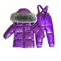 2pcs Winter Snowsuit,new Design Baby Boy Clothes 90% Duck Down Jacket For Girl +long Pants Light Children's Clothing Sets Outfit