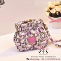 New 2016 Hot Fashion Hello Kitty Designer PU Leather Lady Heart Diamond Neceser Feminina Sac Women Card Coin Purse 12*4*15cm