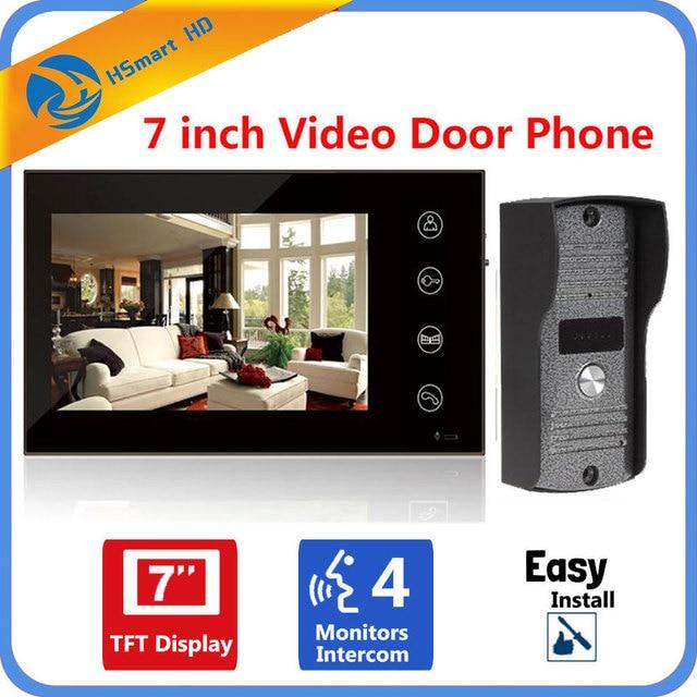 """الأمن الرئيسية 7 """"بوصة شاشات تعمل باللمس tft LCD هاتف باب ملون بفيديو نظام الاتصال الداخلي بجرس الباب نظام للرؤية الليلية العين كاميرا Doorphone"""