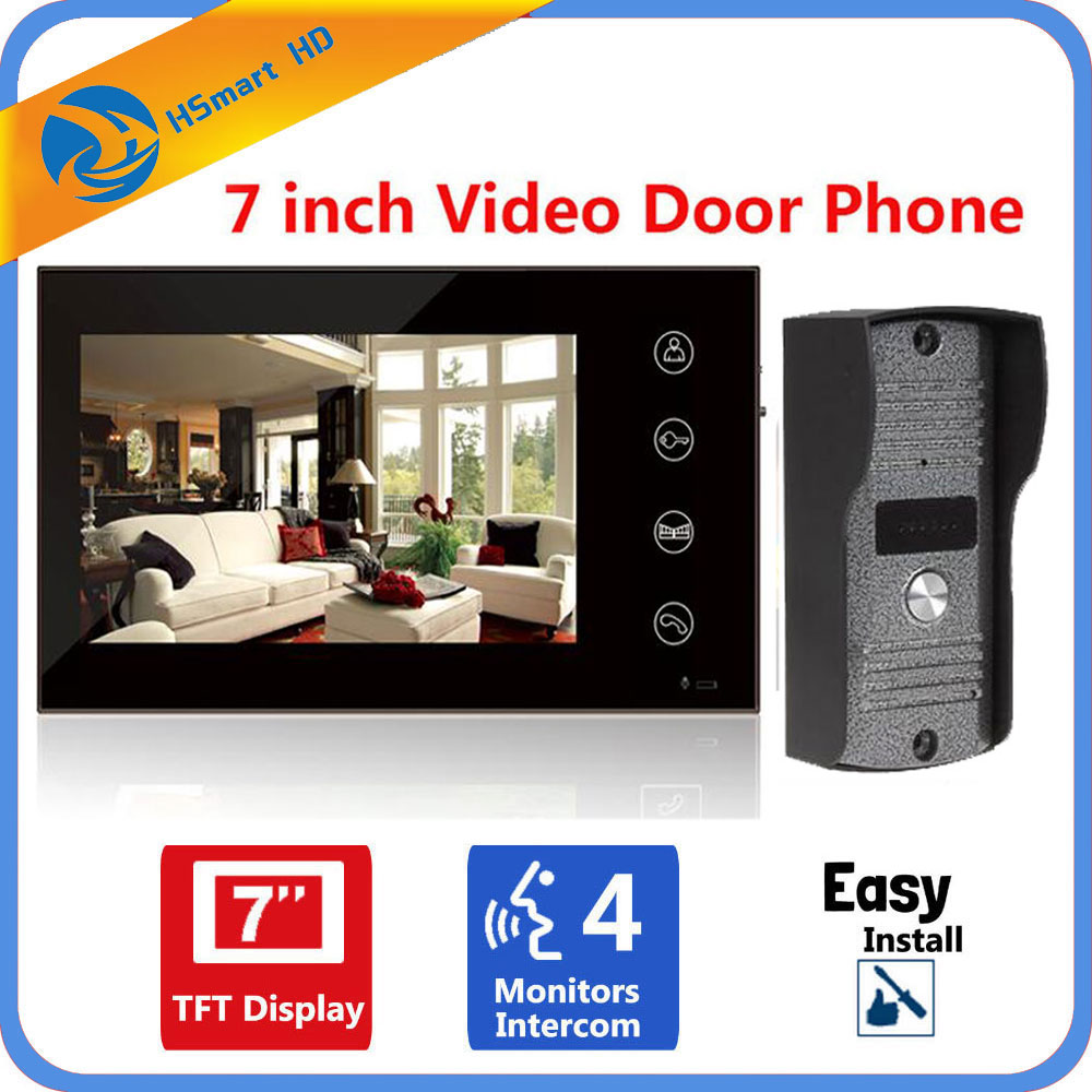 Home Security 7 Inch TFT Touch Screen LCD Color Video Door Phone Doorbell Intercom system Night Vision Eye Camera Doorphone hot sale tft monitor lcd color 7 inch video door phone doorbell home security door intercom with night vision