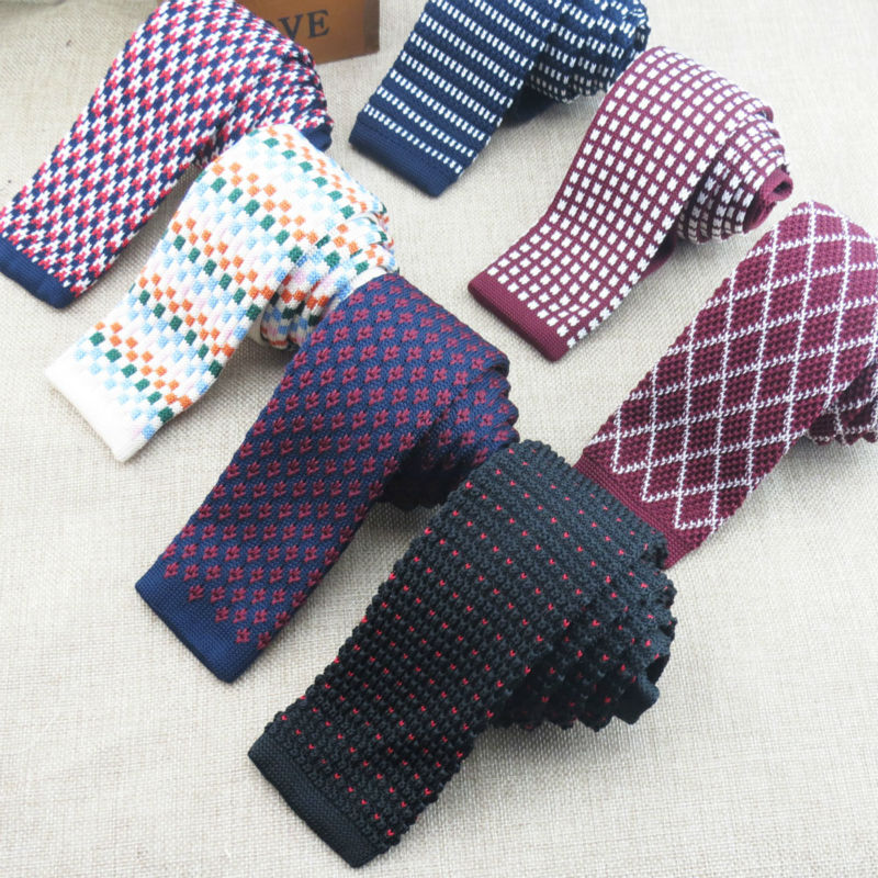 The new fashion knit ties many kinds of plaid tidal flat ncktie men take the clothes accessories preferred