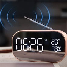 High Quality Large LED Mirror Digital Alarm Clock Portable Wireless Bluetooth Speaker MP3 FM Radio
