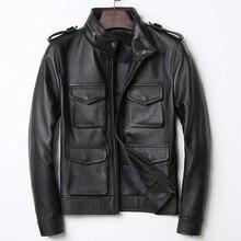 Высокое качество, стоячий воротник, натуральная коровья кожа, мотоциклетная кожаная куртка, Мужская тонкая байкерская куртка на молнии, повседневная черная натуральная кожа, Мужское пальто