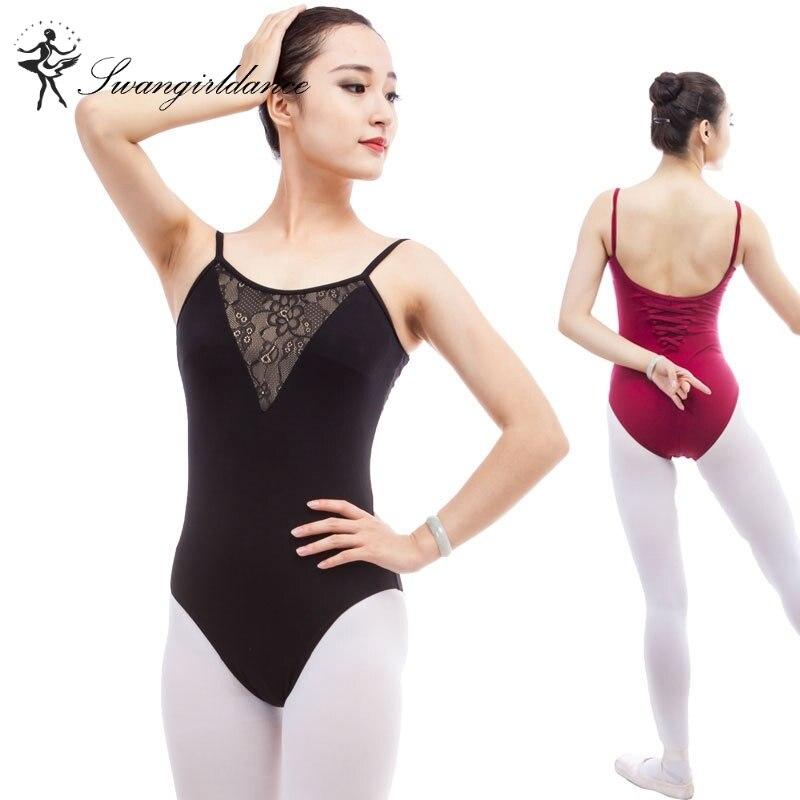 Высокого качества камзол взрослых балетное трико с сеткой спереди черный хлопок со спандексом балетная одежда для продажи cs0303