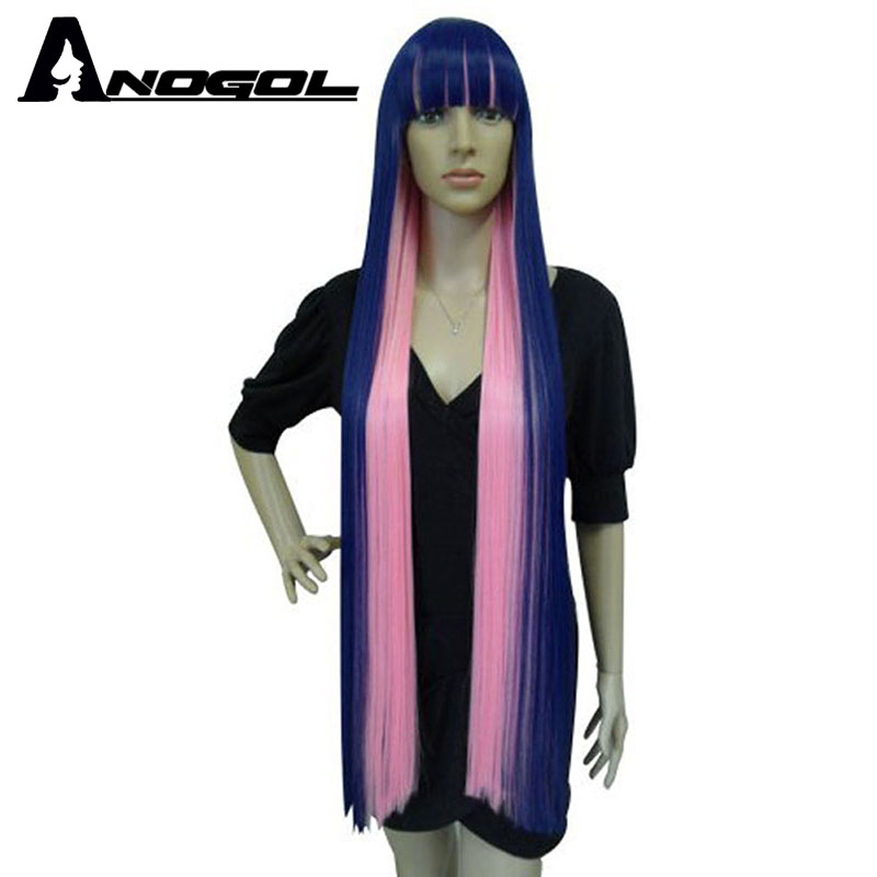 Anogol Natural Long Straight Blue Mix Pink Flat Bangs High Temperature Fiber Synthetic Hair Panty Stocking Style Cosplay Wigs