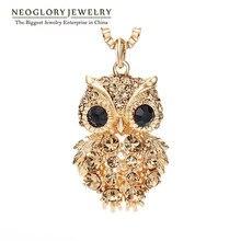 Neoglory Чешский Стразы светильник желтое золото Цвет Мода Сова длинный свитер цепи ожерелья для женщин ювелирные изделия бренд