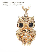 Neoglory Czech Rhinestone 14K Gold Plated Fashion Owl Long Sweater Chain Necklaces For Women Jewelry Accessories