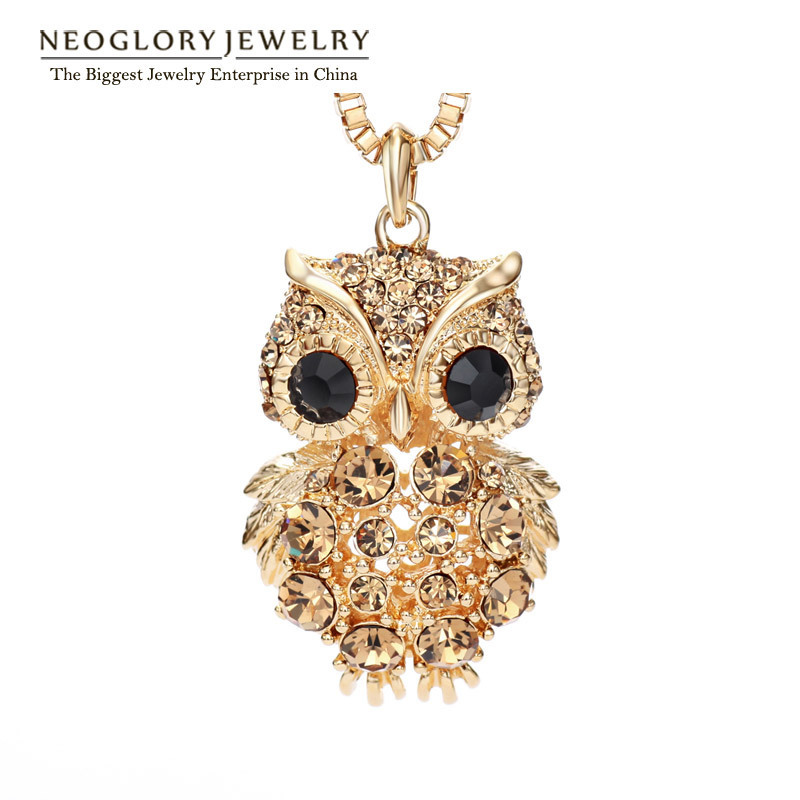 Neoglory Czech Rhinestone Light Yellow Gold Color Fashion Owl Long Sweater Chain Necklaces for Women Jewelry 2018 New Brand