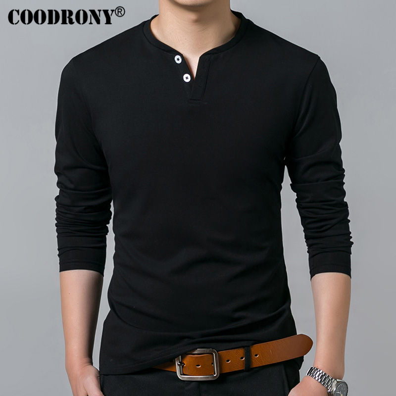 COODRONY   T  -  Shirt   Men 2018 Spring Autumn New Long Sleeve Henry Collar   T     Shirt   Men Brand Soft Pure Cotton Slim Fit Tee   Shirts   7625