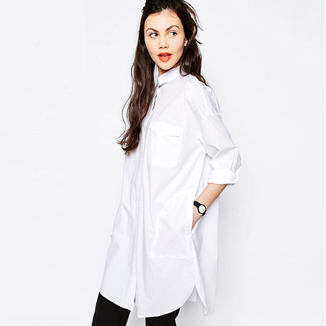 Das 2017 mulheres novas blusas & camisa das mulheres bolso manga longa partes superiores das senhoras estilo boyfriend moda clothing branco roupas femininas grande